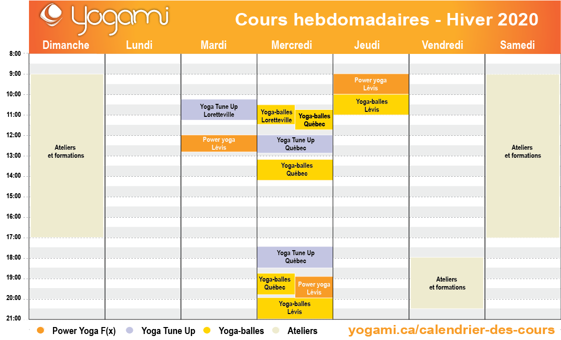 Yogami | Calendrier Cours Hebdomadaires 2020